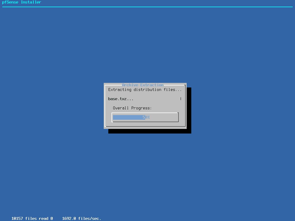 pfSense Install Status
