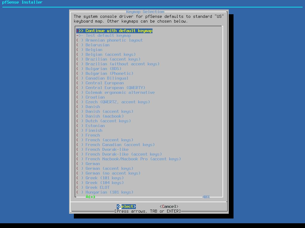 pfSense Install Keyboard Layout