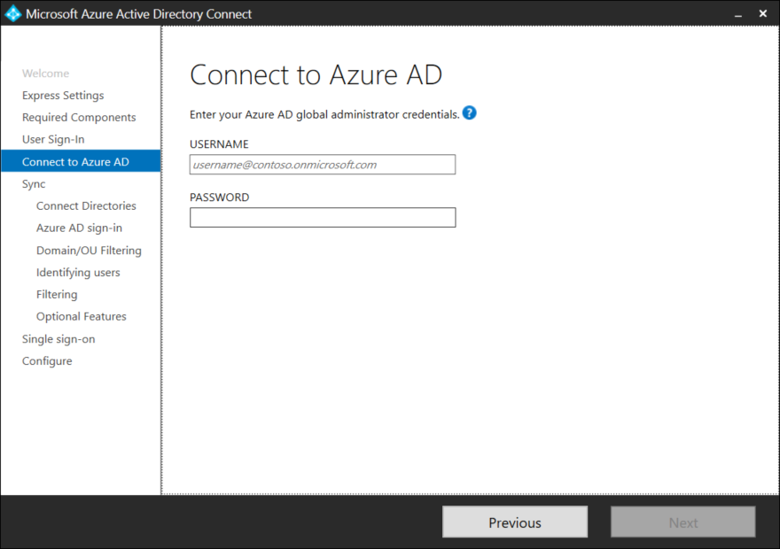 AD Connect Installation Wizard
