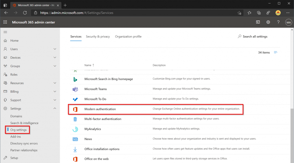 Enable Modern Authentication in Microsoft 365