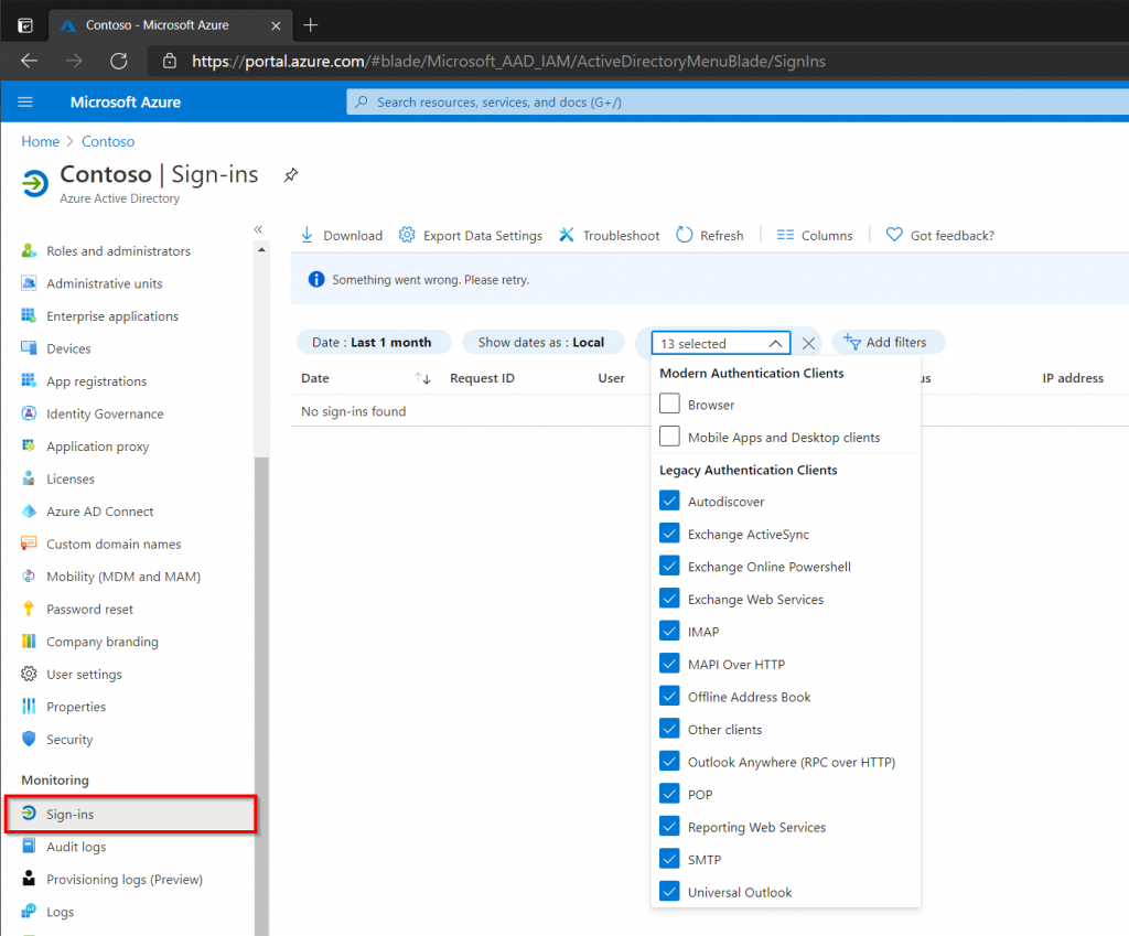 Displaying Legacy Sign-ins in the Azure Portal