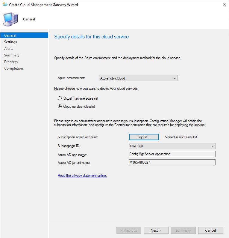 Create a cloud management gateway part 1