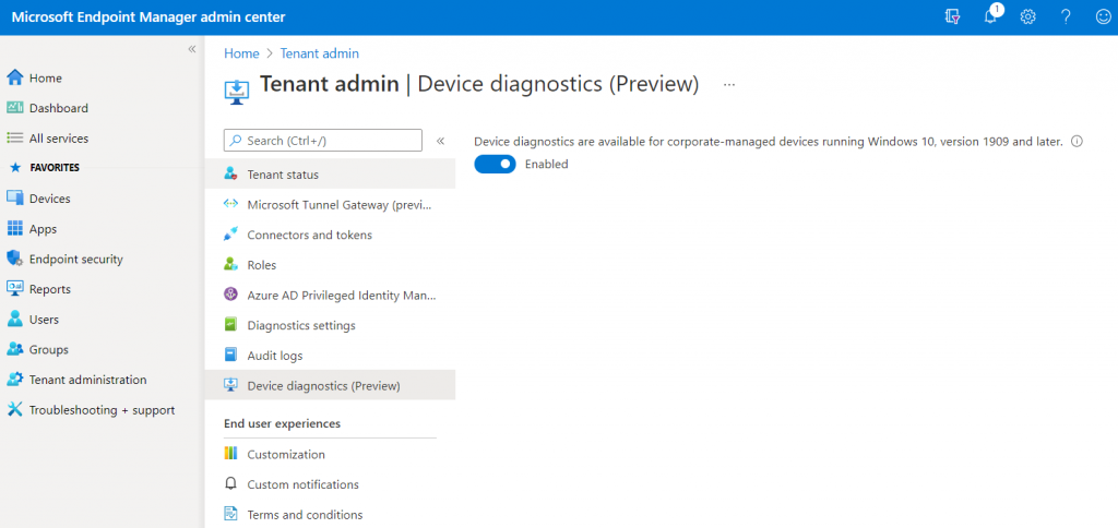 Device Diagnostics Tenant Enabled