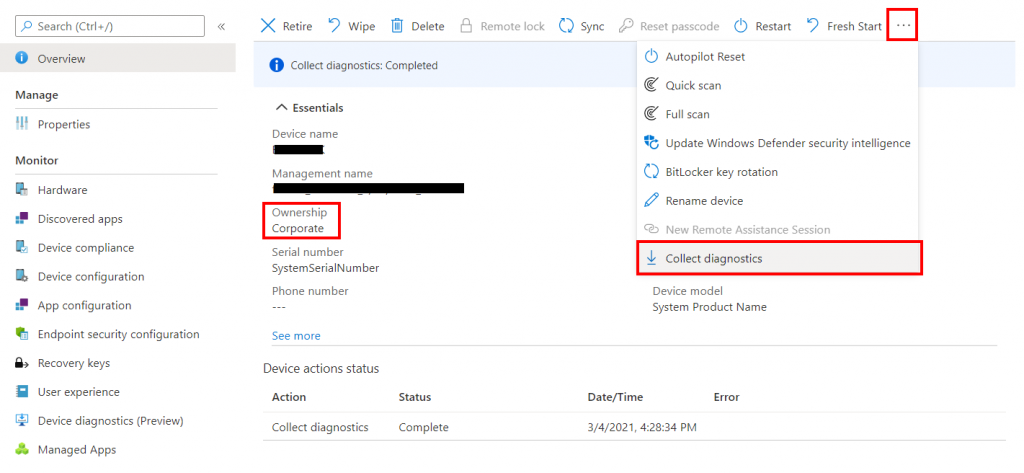 Collecting Device Diagnostics in Intune