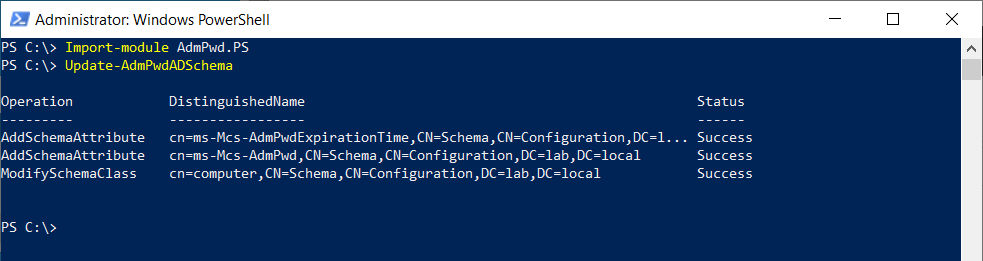 Extending the Active Directory Schema for LAPS.