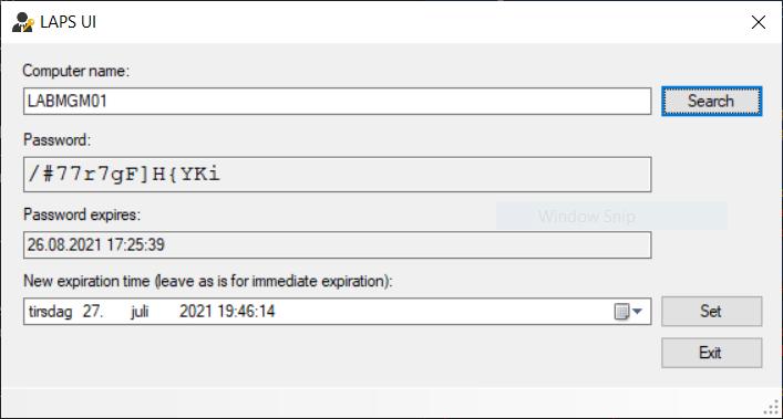 LAPS UI example