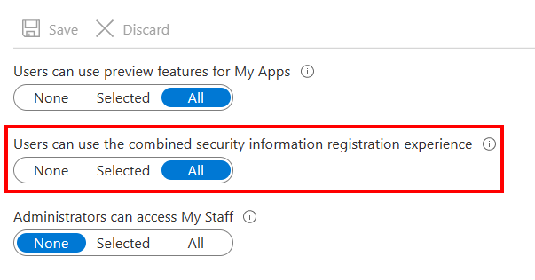 Combined Security Information Registration Experience in Azure AD