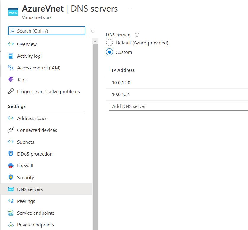 Set Custom DNS settings on Azure Vnet
