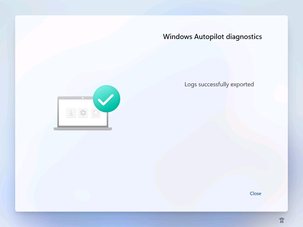 Windows AutoPilot Diagnostics Page Export Logs.