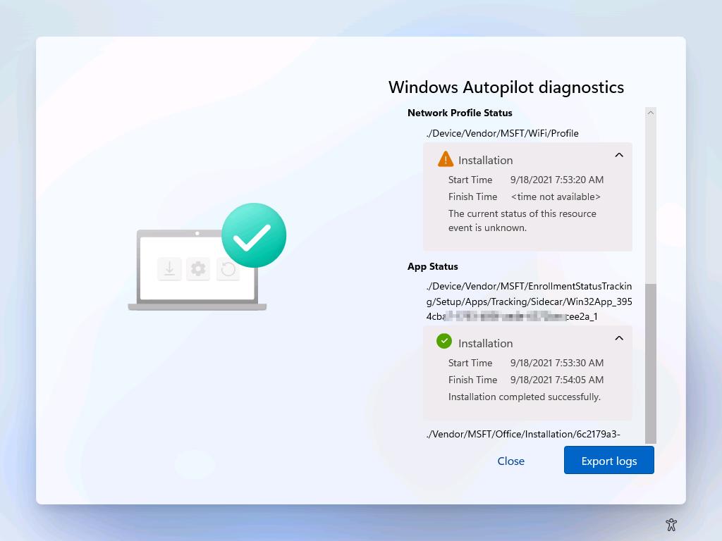 Windows AutoPilot Diagnostics Page showing App and Policies section.